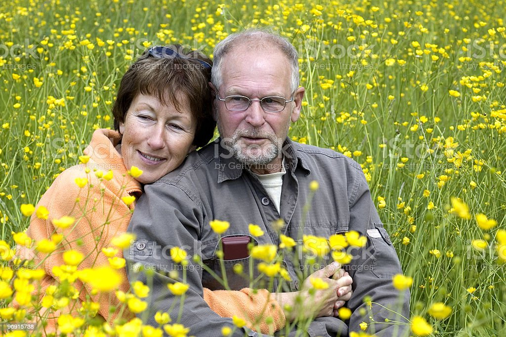 Senior couple in a buttercup field royalty-free stock photo