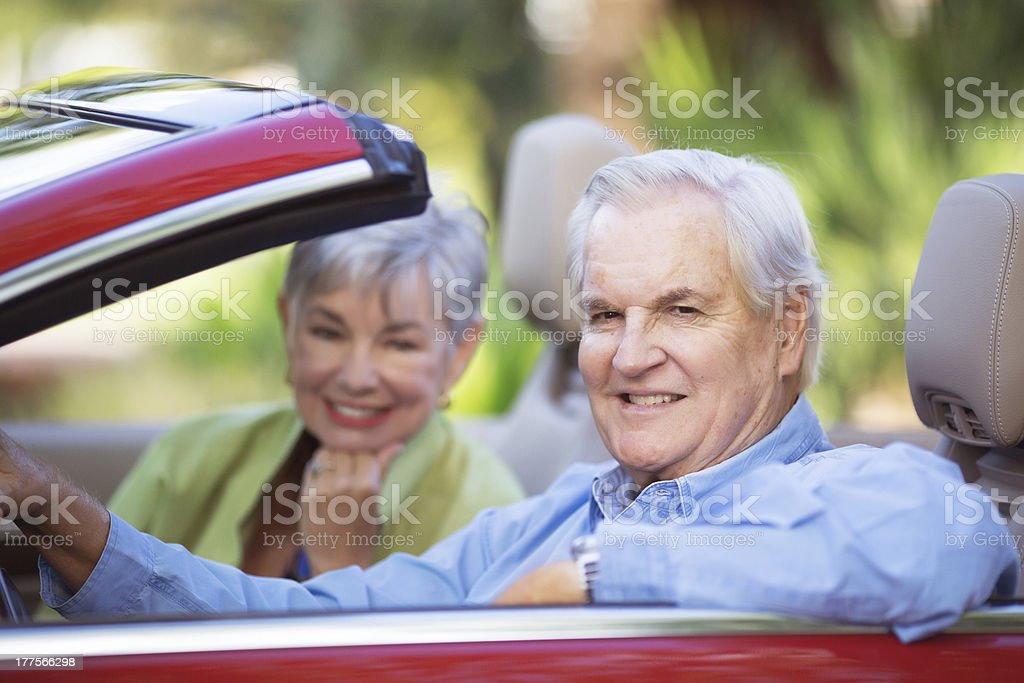 senior couple in a car royalty-free stock photo