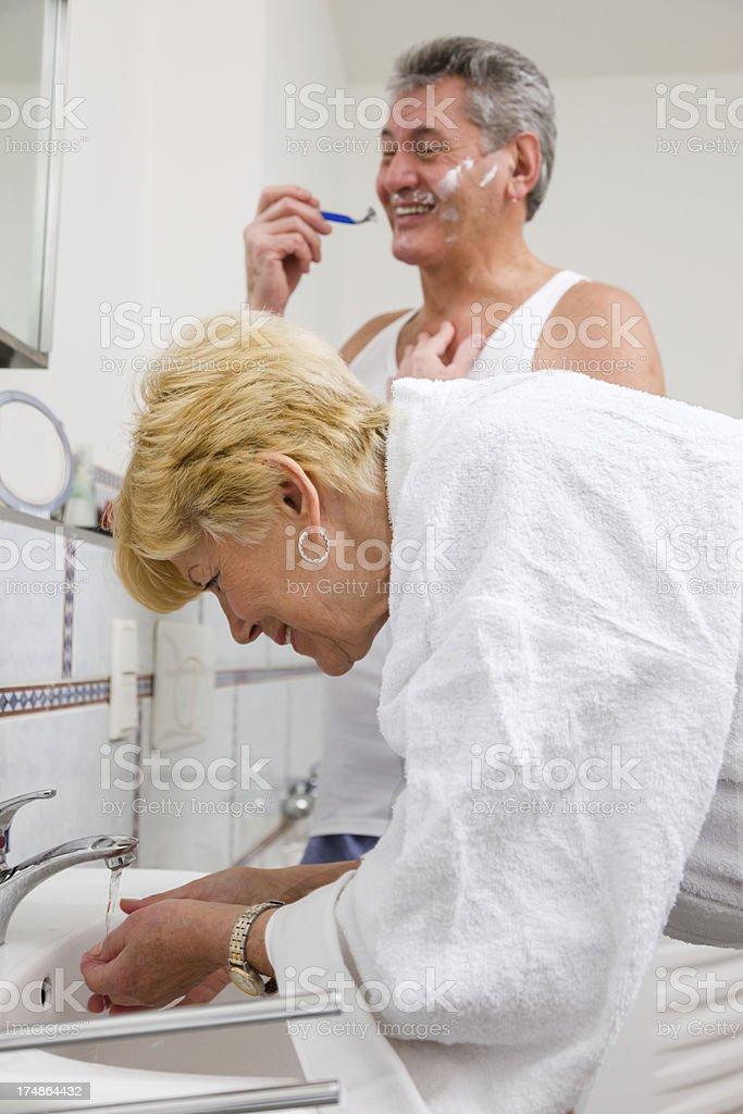 Senior couple in Bathroom royalty-free stock photo