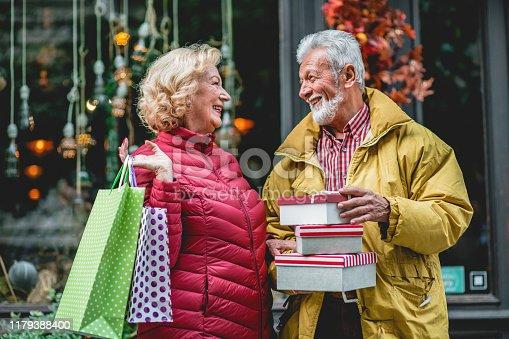 817549606 istock photo Senior couple in Christmas shopping 1179388400
