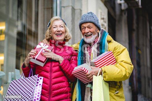 817549606 istock photo Senior couple in Christmas shopping 1184888553