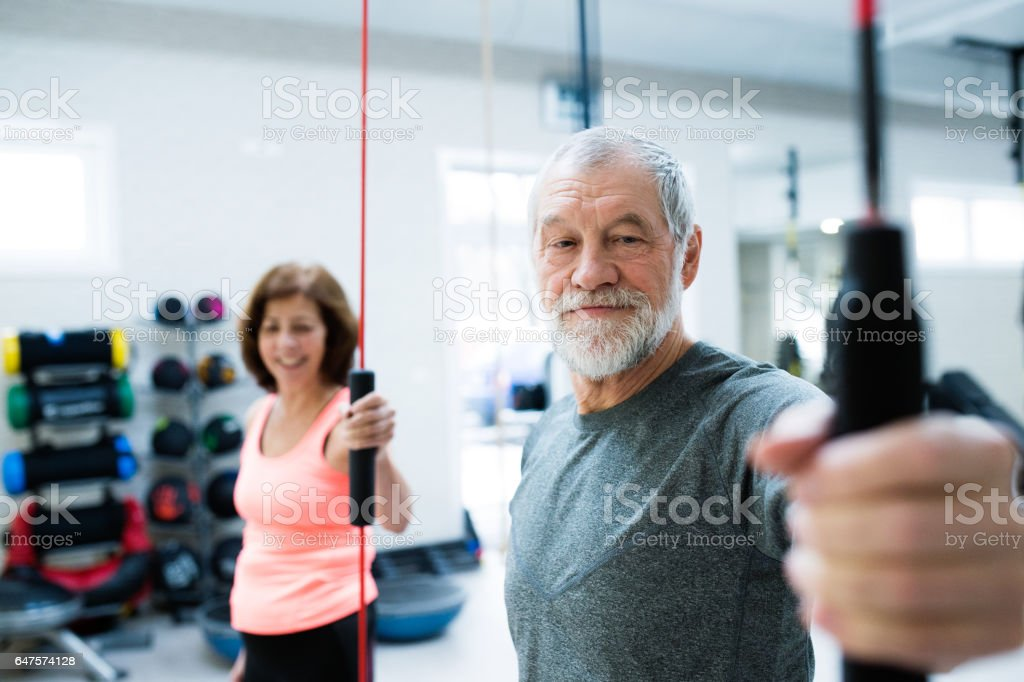 Senior couple in gym working out with vibration bars royalty-free stock photo