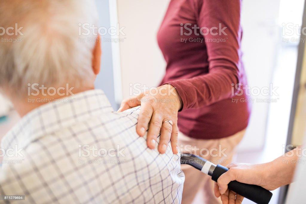 Senior couple in hospital stock photo