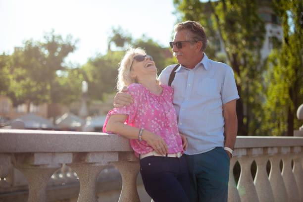 Senior Couple in Ljubljana stock photo