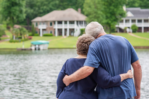 Senior couple in love stock photo