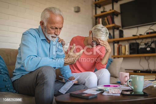 Senior heterosexual couple having problem with their finances while sitting at home