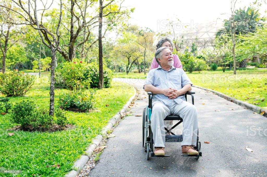 シニア カップル公園、車椅子。公園、リラックス、笑顔で中国の老夫婦。彼の妻の車椅子の男。領域をコピーします。 - アクティブシニアのロイヤリティフリーストックフォト