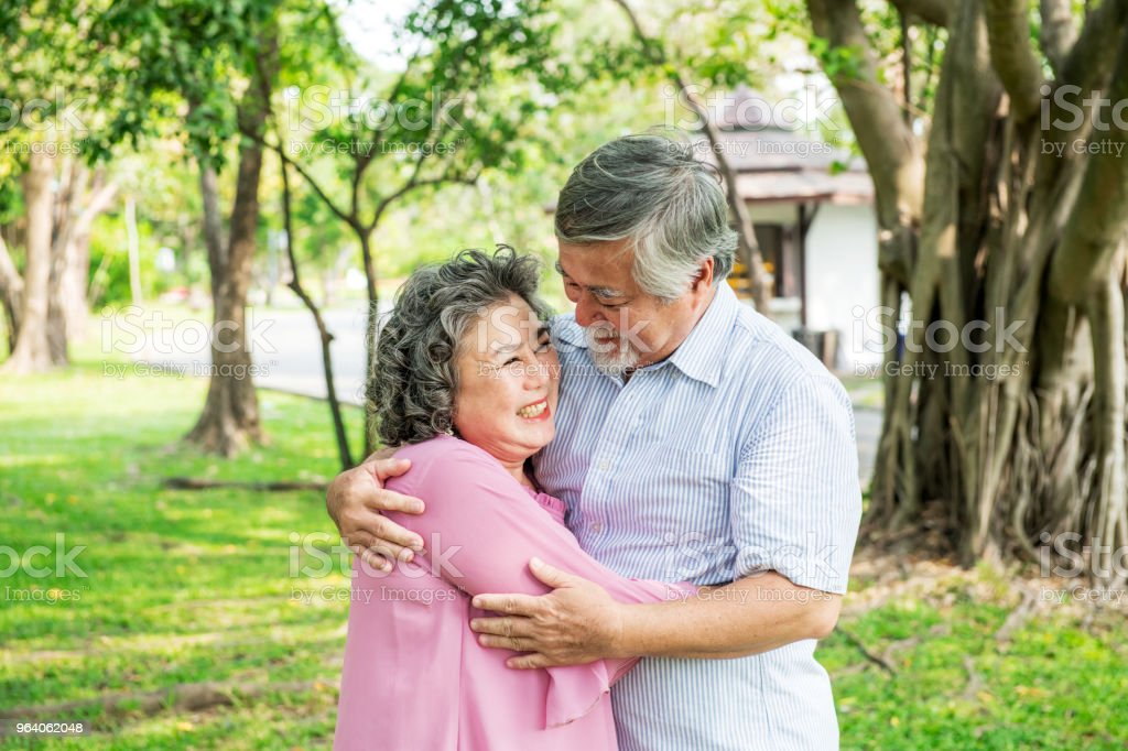 Senior couple in park. Dancing together, relaxing and loving each other with a smile - Royalty-free Active Seniors Stock Photo