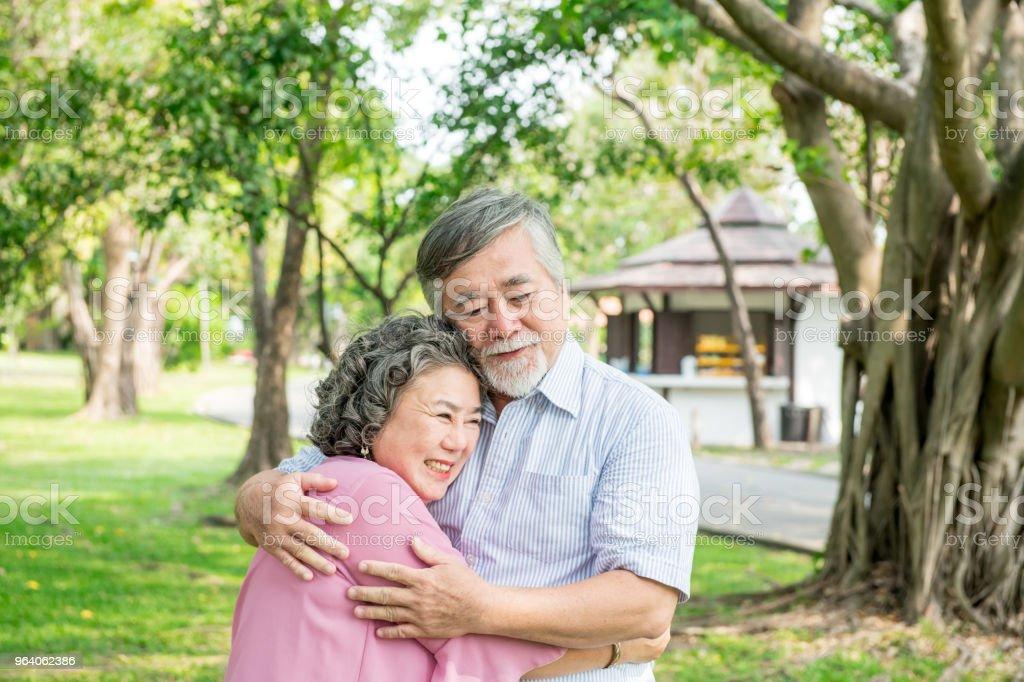 公園で年配のカップル。一緒に踊って、リラックス、笑顔でお互いを愛する - アクティブシニアのロイヤリティフリーストックフォト
