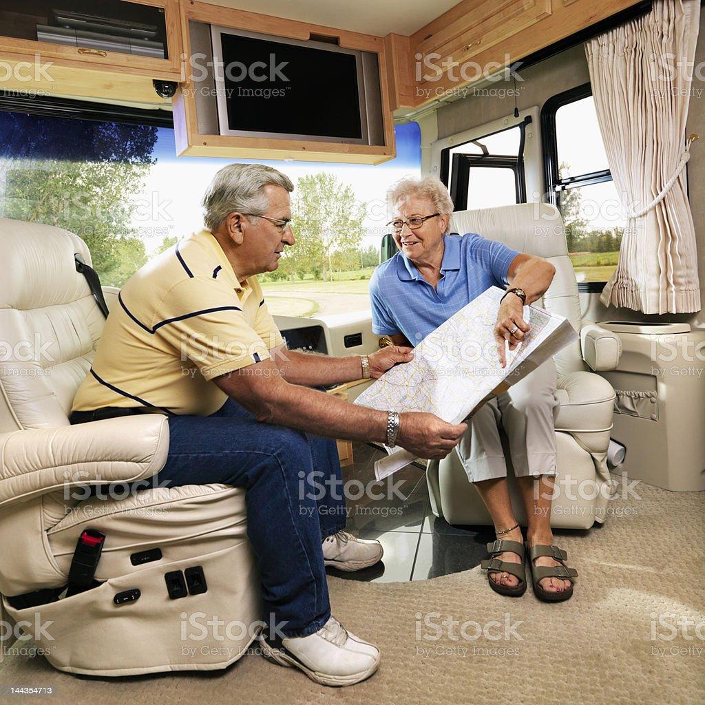 Senior couple in RV. royalty-free stock photo