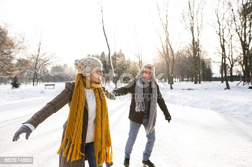 istock Senior couple in sunny winter nature ice skating. 852674880