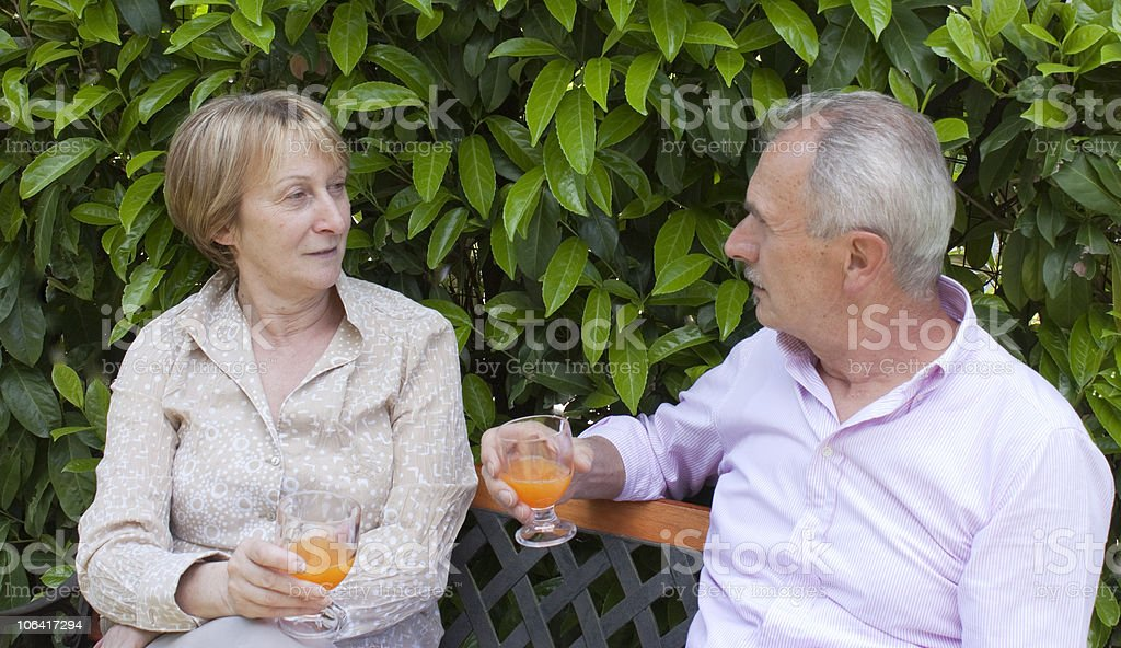 Senior Couple in the Garden royalty-free stock photo