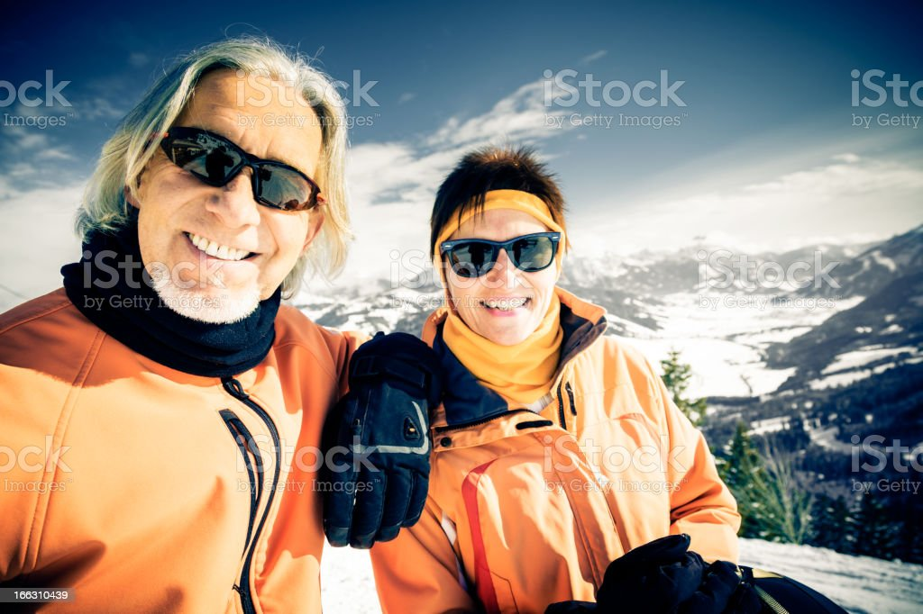 senior couple in the mountains royalty-free stock photo