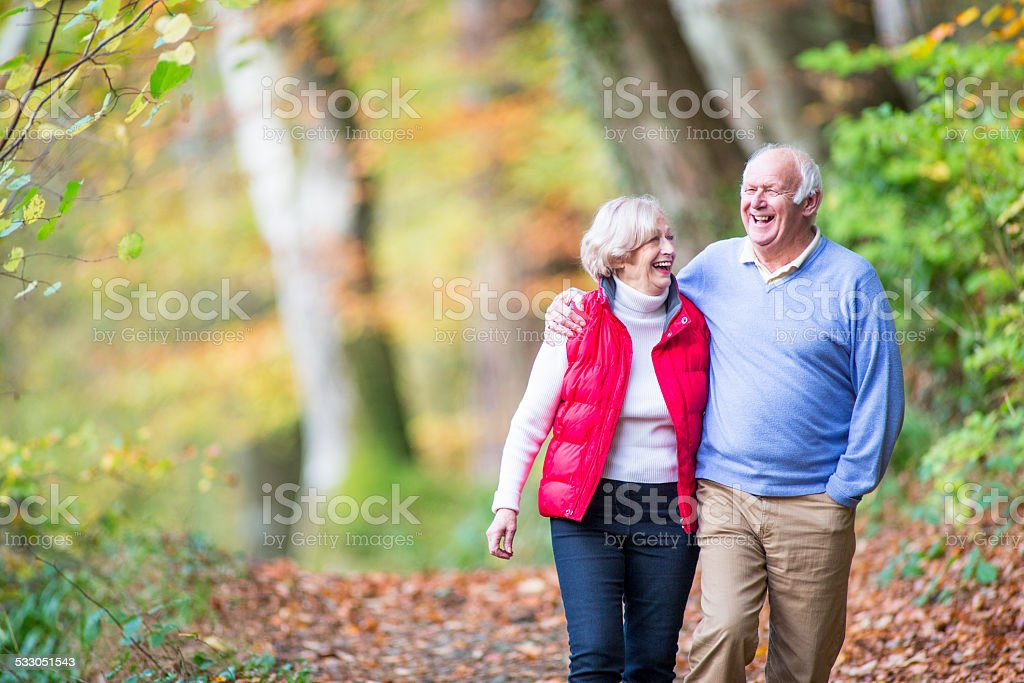 Senior Couple in the Woods stock photo