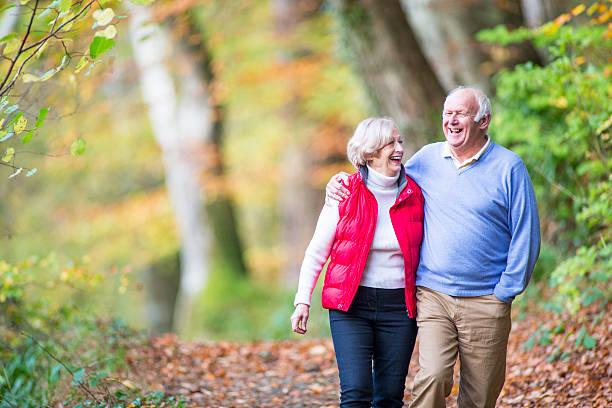 Senior Couple in the Woods stock photo