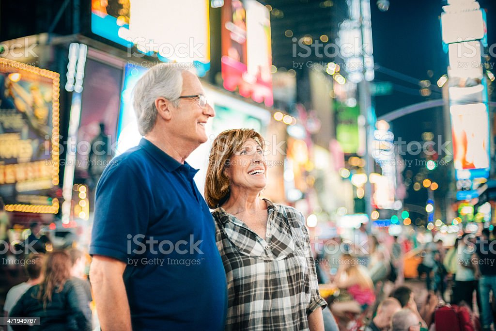 Senior Couple in Times Square New York stock photo