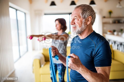 A happy senior couple indoors at home, doing exercise indoors.