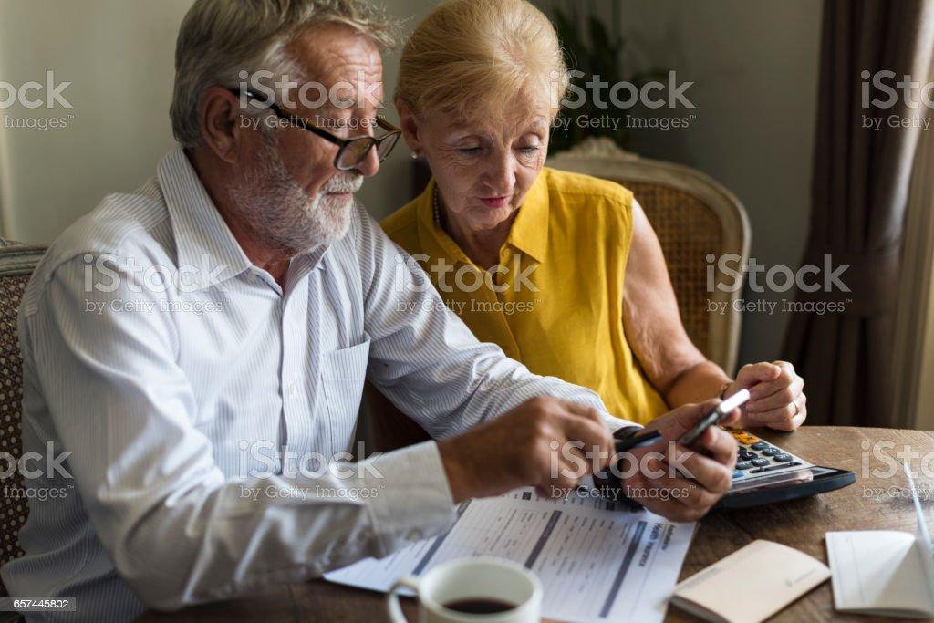 Senior Couple Insurance Appication Form stock photo