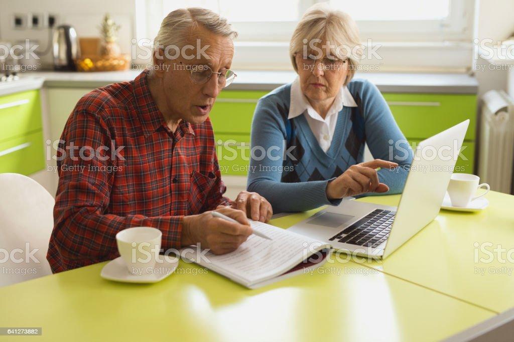 Senior couple is using laptop to organize their finances. stock photo