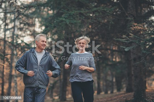 istock Senior couple jogging in a forest 1097399888