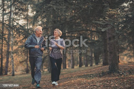 istock Senior couple jogging in a forest 1097401444