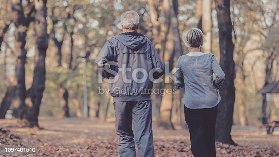 istock Senior couple jogging in a forest 1097401510