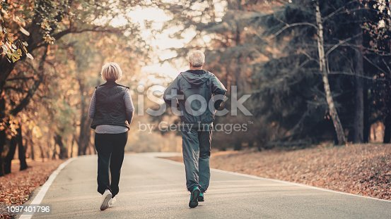 istock Senior couple jogging in a forest 1097401796