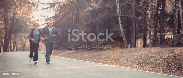 istock Senior couple jogging in a forest 1097910600