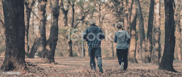 istock Senior couple jogging in a forest 1125404102