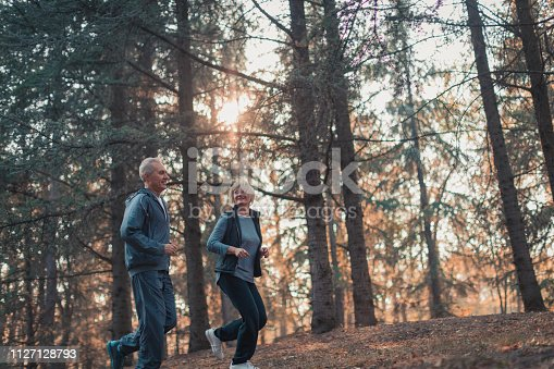 istock Senior couple jogging in a forest 1127128793