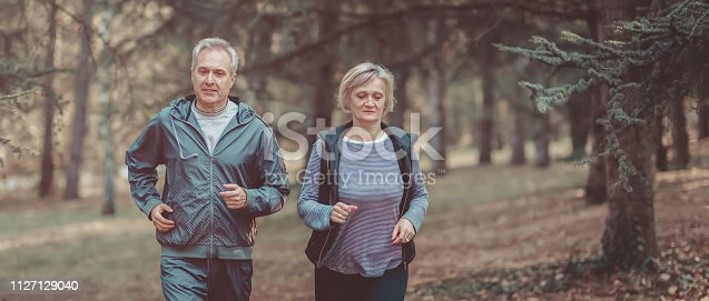 istock Senior couple jogging in a forest 1127129040