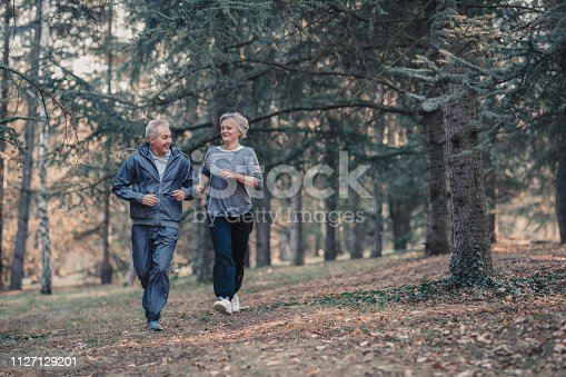 istock Senior couple jogging in a forest 1127129201