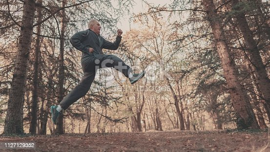 istock Senior couple jogging in a forest 1127129352