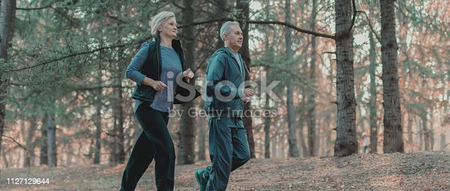 905501696 istock photo Senior couple jogging in a forest 1127129644