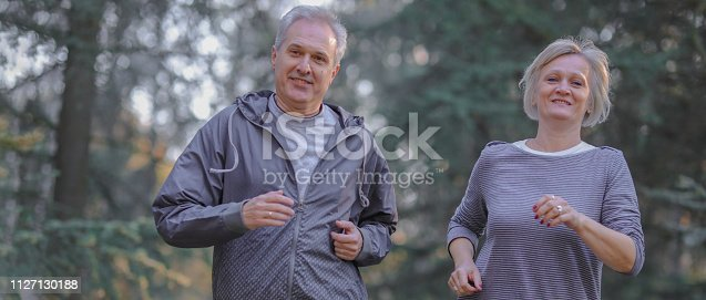 istock Senior couple jogging in a forest 1127130188
