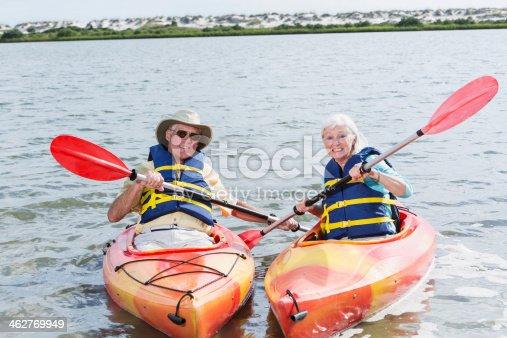 istock Senior couple kayaking 462769949