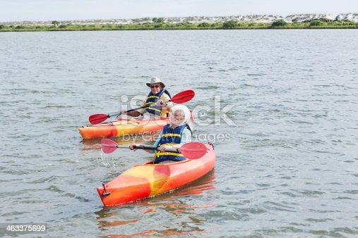 istock Senior couple kayaking 463375699