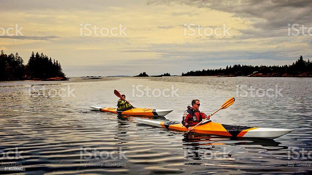 Senior Couple Kayaking stock photo
