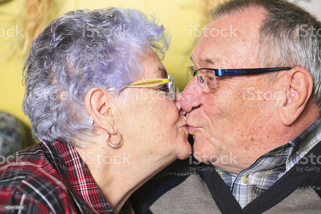 Senior Couple - Kiss stock photo