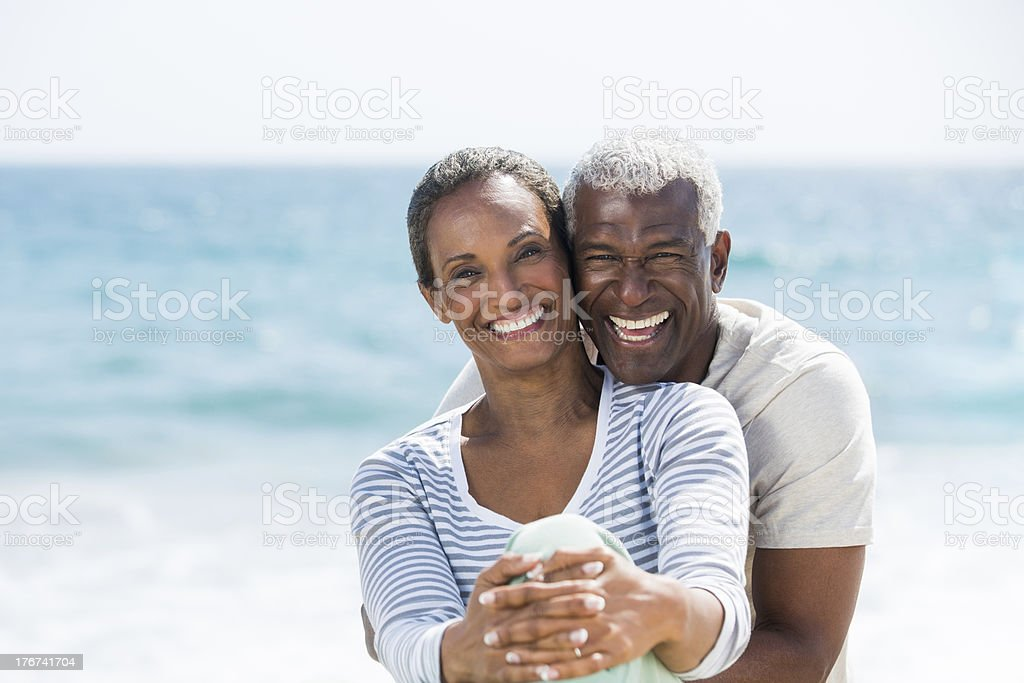 Senior couple laughing and having fun stock photo
