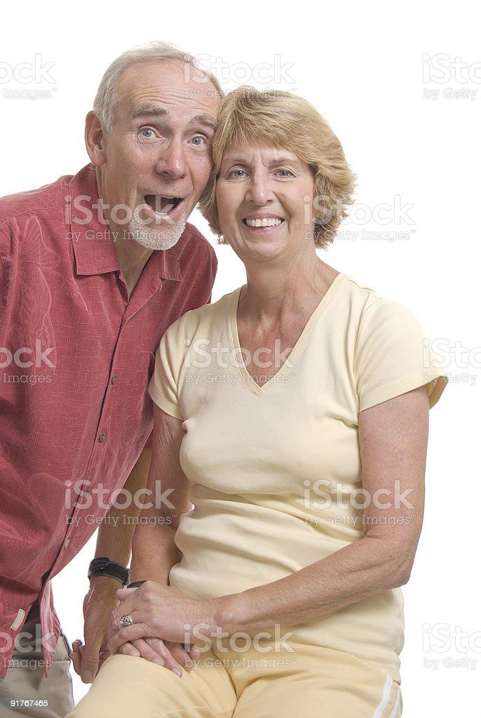 Senior couple laughing and joking royalty-free stock photo