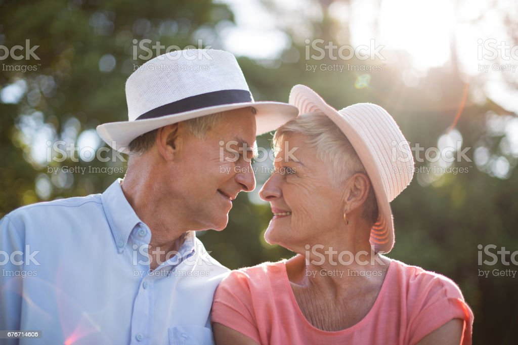 Senior couple looking at each other on sunny day stock photo