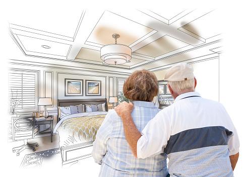 594910248 istock photo Senior Couple Looking Over Custom Bedroom Design Drawing Photo 496825608