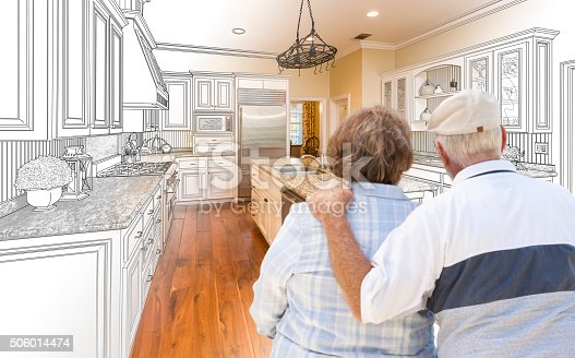 594910248istockphoto Senior Couple Looking Over Custom Kitchen Design Drawing and Photo 506014474