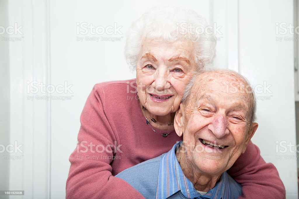 Senior couple married 67 years stock photo