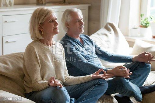 973962328 istock photo Senior couple meditating practicing yoga together sitting at home sofa 1049512784