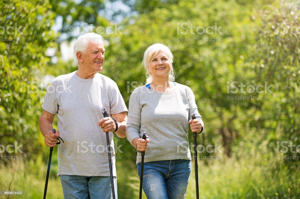 Senior couple nordic walking in park stock photo