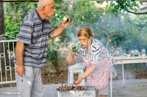 696841580istockphoto Senior couple on a barbecue picnic 1156070145