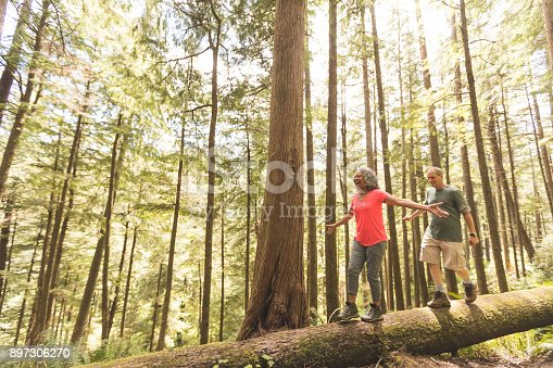 Cute senior couple explore the Pacific Northwest together on a day hiking trip. They are walking across a log in the forest. She is in front and they have their arms out for balance as they inch across...