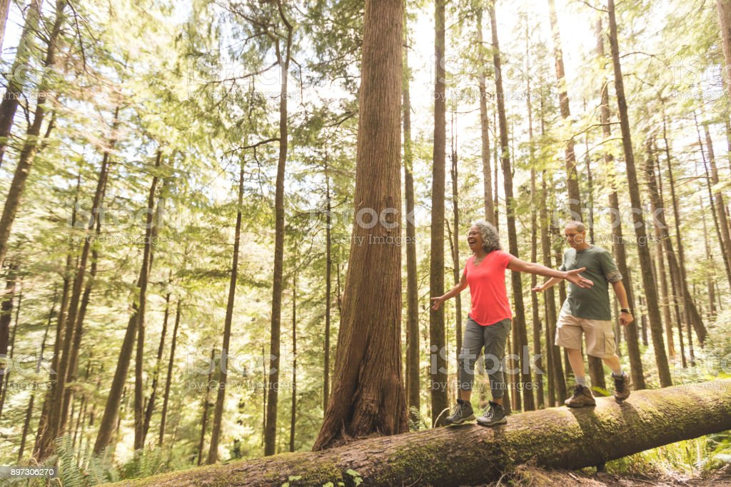 Senior Couple on a Day Hike in Forest stock photo